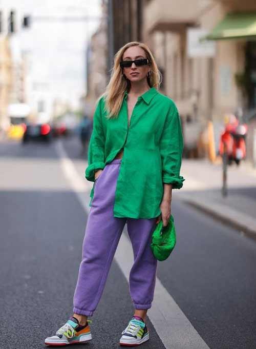 Модная зеленая рубашка стиль оверсайз