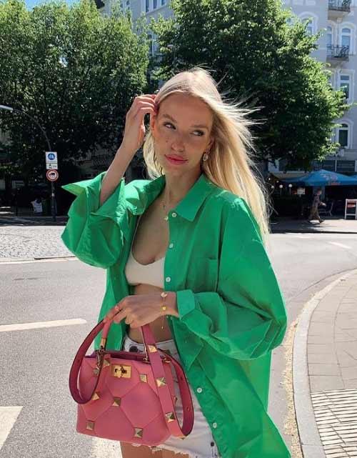 С чем носить женскую зеленую рубашку