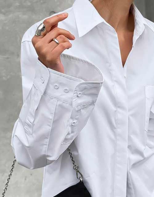Модные детали - женская рубашка оверсайз